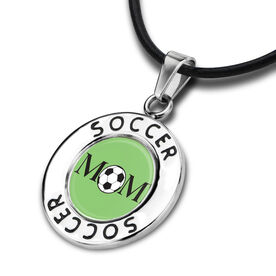 Soccer Circle Necklace Ball Mom