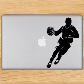 Basketball Guy Dribbling Silhouette Removable ChalkTalkGraphix Laptop Decal