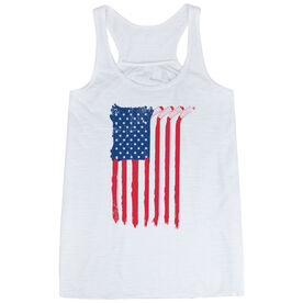 Hockey Flowy Racerback Tank Top - American Flag (Destressed)