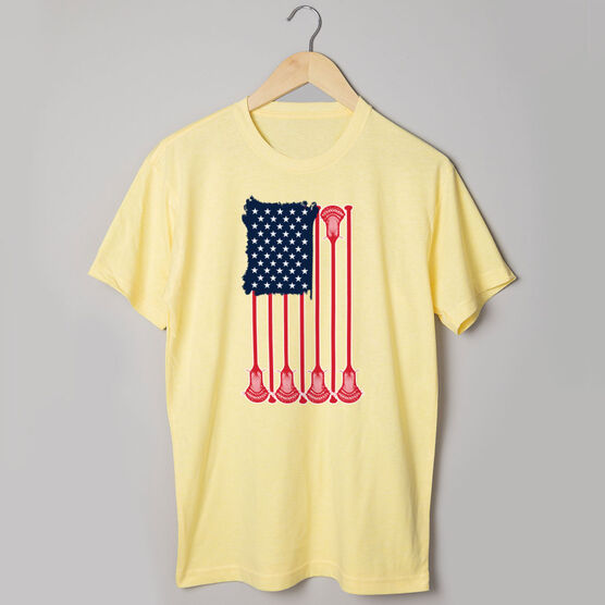 Guys Lacrosse Short Sleeve T-Shirt - American Flag