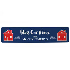 """Personalized Aluminum Room Sign - Bless Our Home (4""""x18"""")"""