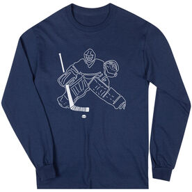 Hockey Long Sleeve T-Shirt - Hockey Goalie Sketch
