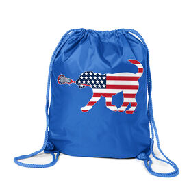 Girls Lacrosse Sport Pack Cinch Sack Patriotic LuLa the Lax Dog