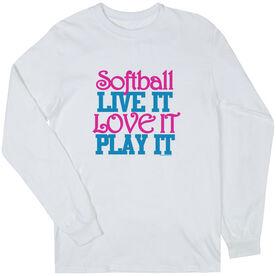 Softball Tshirt Long Sleeve Softball Live It Love It Play It