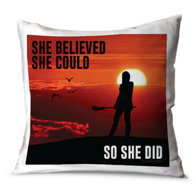 Girls Lacrosse Throw Pillow She Believed She Could So She Did