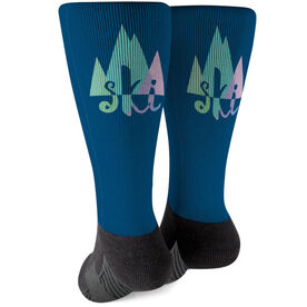 Skiing Printed Mid-Calf Socks - Ski Mountain