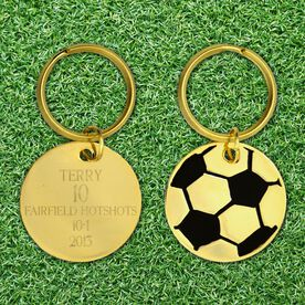 Engraved Soccer Brass Keychain