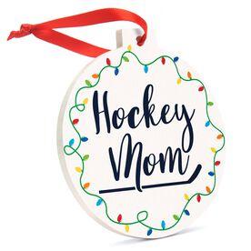 Hockey Round Ceramic Ornament - Hockey Mom