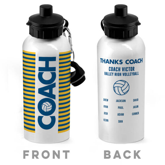 Volleyball 20 oz. Stainless Steel Water Bottle - Coach With Roster