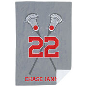 Guys Lacrosse Premium Blanket - Personalized Crossed Sticks with Big Number