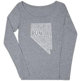 Women's Scoop Neck Long Sleeve Runners Tee Nevada State Runner