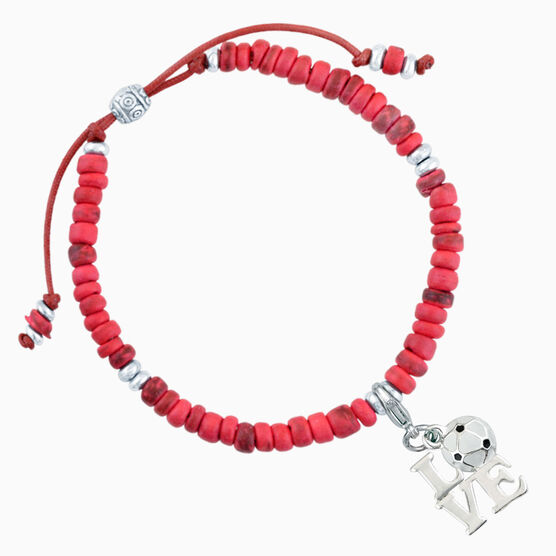 Natural SportBEAD Adjustable Bracelet - Love Soccer Charm