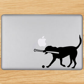 Baseball Dog Removable ChalkTalkGraphix Laptop Decal