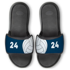 Volleyball Repwell™ Slide Sandals - Ball and Number Reflected