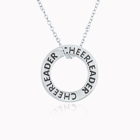 Sterling Silver Cheerleader Message Ring Necklace
