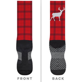 Printed Mid-Calf Socks - Plaid Reindeer