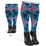 Girls Lacrosse Printed Knee-High Socks - Tropical Palm Pattern