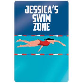 "Swimming 18"" X 12"" Aluminum Room Sign - Personalized Swim Zone Girl"