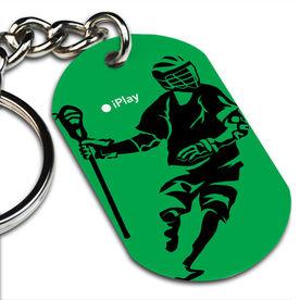 Lacrosse Printed Dog Tag Keychain iPlay Lacrosse (Male)
