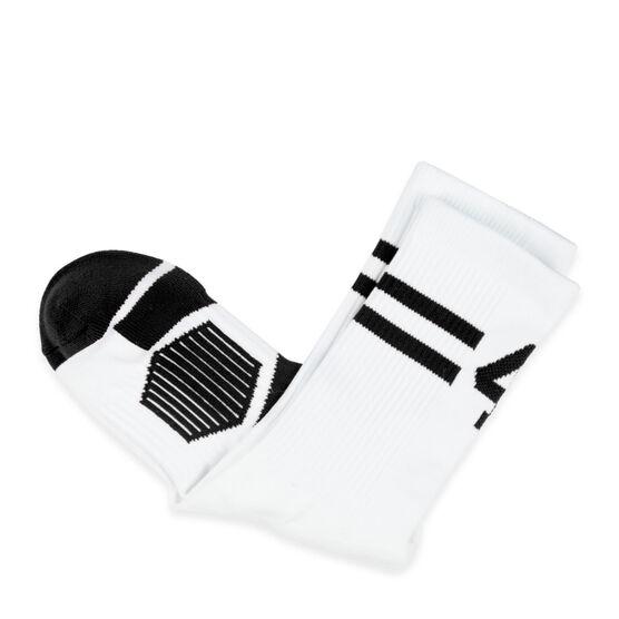 Team Number Woven Mid-Calf Socks - White/Black Stripe