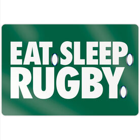 """Rugby 18"""" X 12"""" Aluminum Room Sign - Eat Sleep Rugby"""