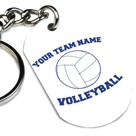 Volleyball Printed Dog Tag Keychain Volleyball Team Name