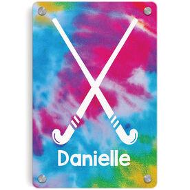 Field Hockey Metal Wall Art Panel - Personalized Tie-Dye Pattern with Sticks