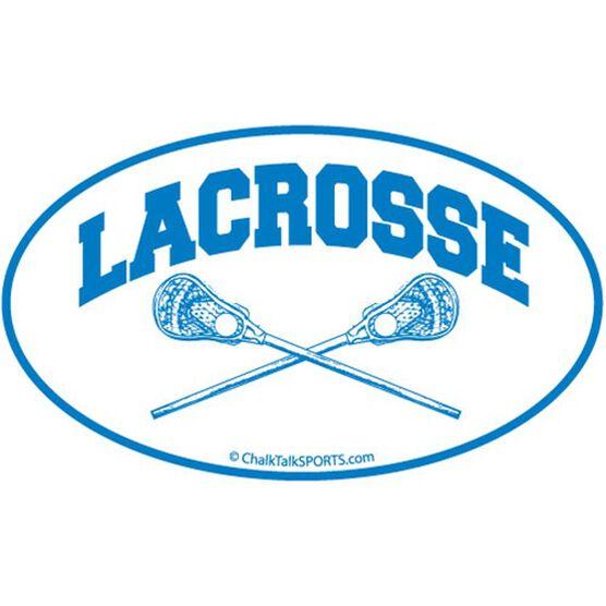 Lacrosse Crossed Sticks Oval Car Magnet (Blue)