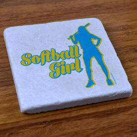 Softball Girl Silhouette Stone Coaster