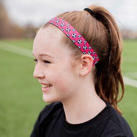 Soccer Juliband Non-Slip Headband - Soccer Balls - Pink