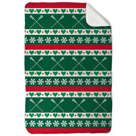 Girls Lacrosse Sherpa Fleece Blanket - Christmas Sweater