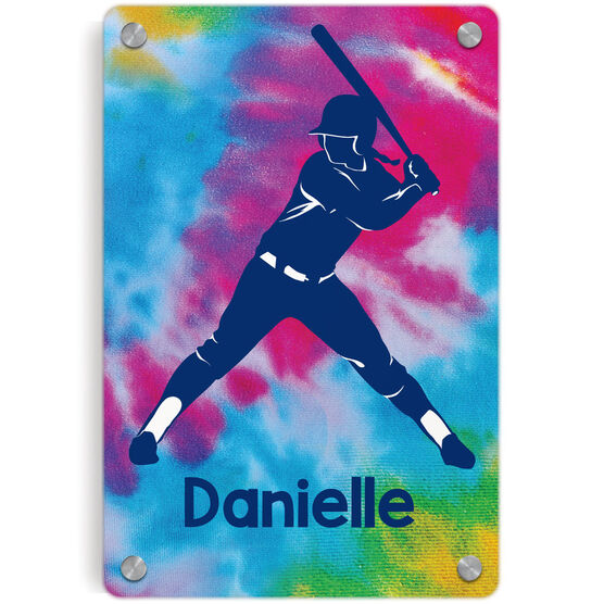 Softball Metal Wall Art Panel - Personalized Batter With Tie-Dye