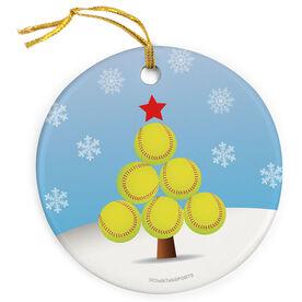 Softball Porcelain Ornament Christmas Tree  - SS