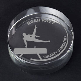 Gymnastics Personalized Engraved Crystal Gift - Customized Horse (Male)