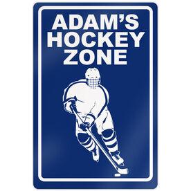 "Hockey Aluminum Room Sign Personalized Hockey Zone Guy (18"" X 12"")"