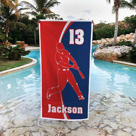 Baseball Premium Beach Towel - Personalized Batter