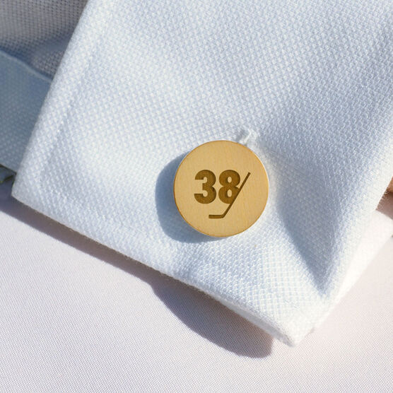 Hockey Engraved Wood Cufflinks Stick Number Slice