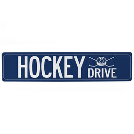 "Hockey Aluminum Room Sign - Hockey Drive With Number (4""x18"")"