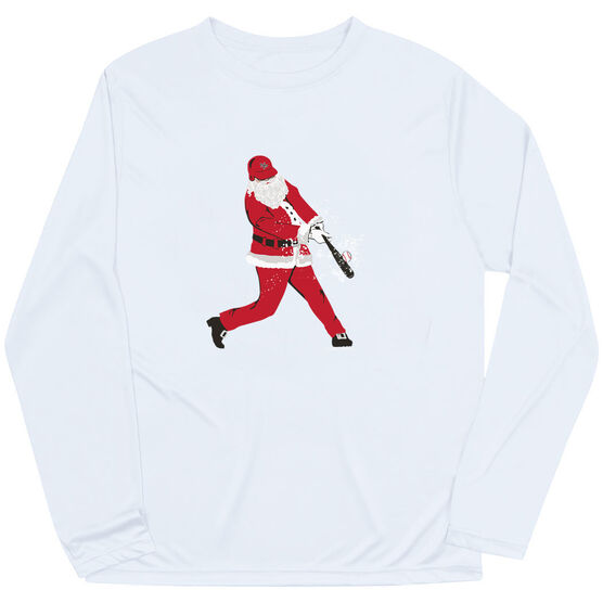 Baseball Long Sleeve Performance Tee - Home Run Santa