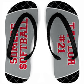 Softball Flip Flops Personalized Team