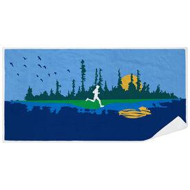 Running Premium Beach Towel - Runner Reflection