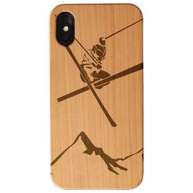 Skiing Engraved Wood IPhone® Case - Skier Above The Mountains