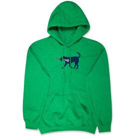 Girls Lacrosse Hooded Sweatshirt - LuLa The LAX Dog(Blue)