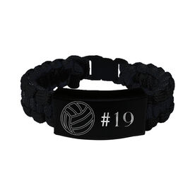 Volleyball Paracord Engraved Bracelet - Volleyball Ball With 1 Line/Black