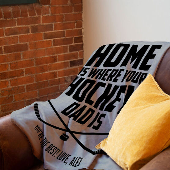 Hockey Premium Blanket - Home Is Where Your Hockey Dad Is