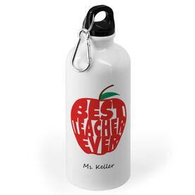 Personalized 20 oz. Stainless Steel Water Bottle - Best Teacher Ever Apple