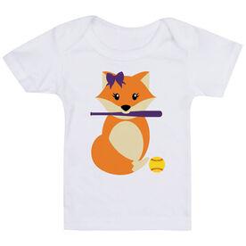 Softball Baby T-Shirt - Softball Fox