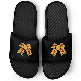 Softball Black Slide Sandals - Softball Bow