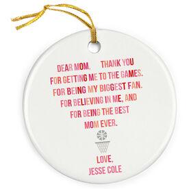Basketball Porcelain Ornament - Dear Mom Heart