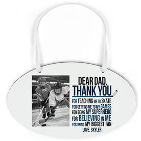 Hockey Oval Sign - Dear Dad With Photo